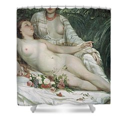 Bathers Or Two Nude Women Shower Curtain by Gustave Courbet
