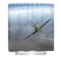 Shower Curtain featuring the photograph Battle Of Britain Spitfires Over Kent by Gary Eason