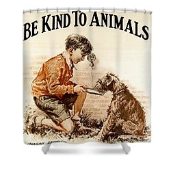 Shower Curtain featuring the painting Be Kind To Animals by Pg Reproductions
