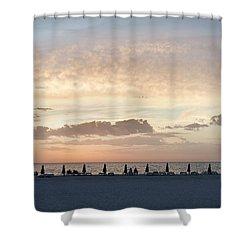 Beach At Sunset Shower Curtain