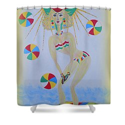 Shower Curtain featuring the painting Beach Ball Surfer by Marie Schwarzer