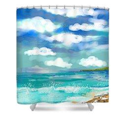 Shower Curtain featuring the digital art Beach Birds by Elaine Lanoue