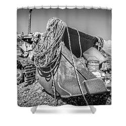 Beach Bulldozer. Shower Curtain