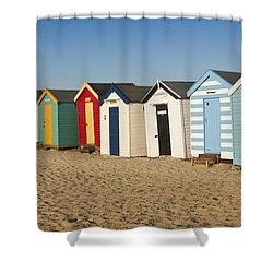 Beach Huts Shower Curtain by Ian Merton