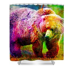 Bear Shower Curtain by Elena Kosvincheva