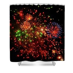Beautiful Fireworks Against The Black Sky Of The New Year Shower Curtain