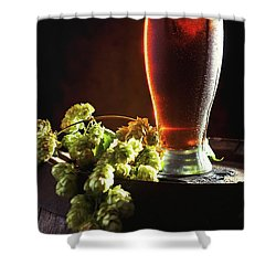 Beer And Hops On Barrel Shower Curtain by Amanda Elwell