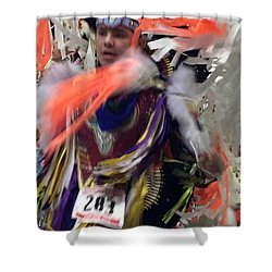 Behind The Feathers Shower Curtain by Audrey Robillard