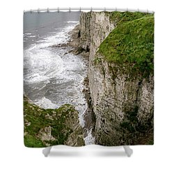 Bempton Cliffs Shower Curtain by Nigel Wooding