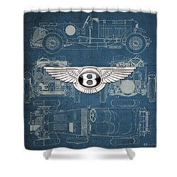 Bentley - 3 D Badge Over 1930 Bentley 4.5 Liter Blower Vintage Blueprint Shower Curtain by Serge Averbukh