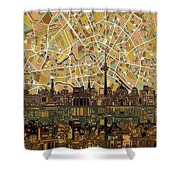 Berlin City Skyline Abstract Shower Curtain by Bekim Art