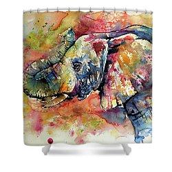 Big Colorful Elephant Shower Curtain