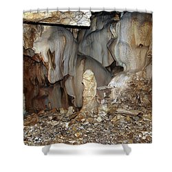 Shower Curtain featuring the photograph Bizarre Mineral Formations In Stalactite Cavern by Michal Boubin