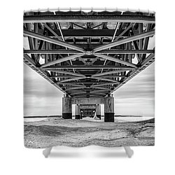 Shower Curtain featuring the photograph Black And White Mackinac Bridge Winter by John McGraw