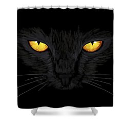 Shower Curtain featuring the painting Superstitious Cat by Anastasiya Malakhova