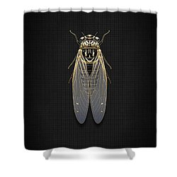 Black Cicada With Gold Accents On Black Canvas Shower Curtain by Serge Averbukh