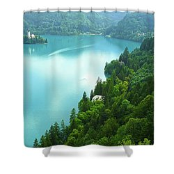 Bled Shower Curtain by Daniel Csoka