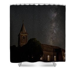 Blood Moon Over St. Johns Church Shower Curtain