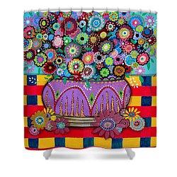 Blooms Shower Curtain by Pristine Cartera Turkus