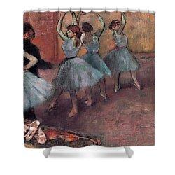 Blue Dancers Shower Curtain by Edgar Degas