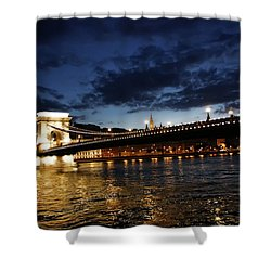 Blue Danube Sunset Budapest Shower Curtain