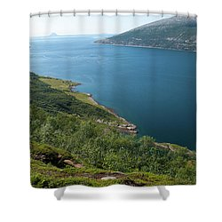 Blue Fjord Shower Curtain by Tamara Sushko