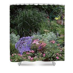 Blue Garden Bench Shower Curtain