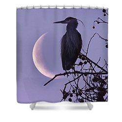 Blue Heron Moon Shower Curtain