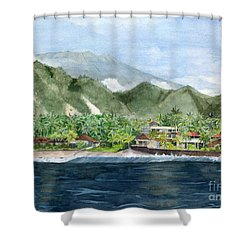 Shower Curtain featuring the painting Blue Lagoon Bali Indonesia by Melly Terpening