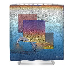 Blue Lagoon Sunrise  Shower Curtain by Serge Averbukh