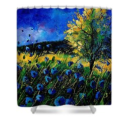 Blue Poppies  Shower Curtain by Pol Ledent