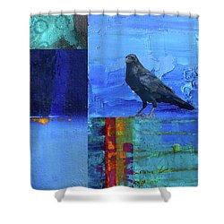 Shower Curtain featuring the digital art Blue Raven by Nancy Merkle