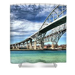 Blue Water Bridge Shower Curtain