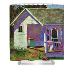 Blue Willow Farmers House Shower Curtain by Mary McInnis
