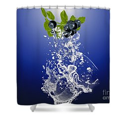 Blueberry Splash Shower Curtain by Marvin Blaine