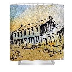 Boardinghouse Cable Ghost Town Montana Shower Curtain by Kevin Heaney