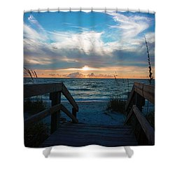 Boardwalk At Delnor-wiggins Pass State Park Shower Curtain