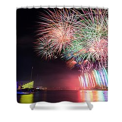 Boathouse Fireworks Shower Curtain