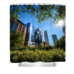 Boston Downtown City Buildings Through Trees Shower Curtain