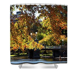 Shower Curtain featuring the photograph Boston Public Garden - Lagoon Bridge by Joann Vitali