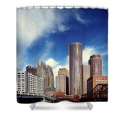 Boston Skyline 1980s Shower Curtain by L O C