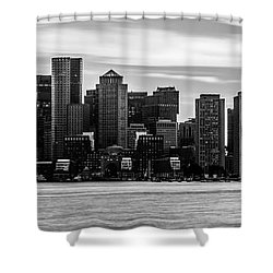 Boston Skyline Black And White Panoramic Picture Shower Curtain