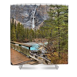 Shower Curtain featuring the photograph Wooden Bridge To Takakkaw Falls by Adam Jewell