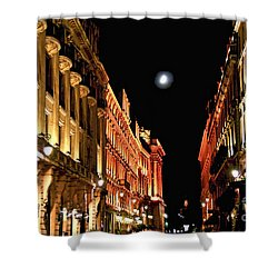 Bright Moon In Paris Shower Curtain by Elena Elisseeva