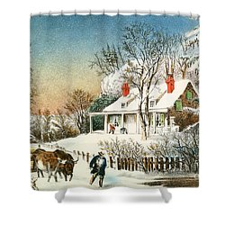 Bringing Home The Logs Shower Curtain by Currier and Ives