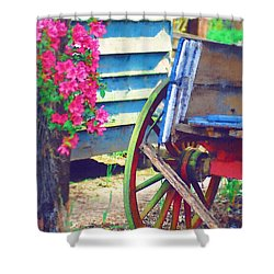 Shower Curtain featuring the photograph Broken Wagon by Donna Bentley