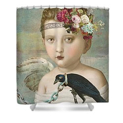 Shower Curtain featuring the digital art Broken Wing by Lisa Noneman