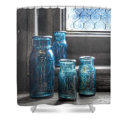 Shower Curtain featuring the photograph Bromo Seltzer Vintage Glass Bottles by Marianna Mills
