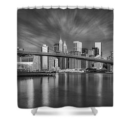 Shower Curtain featuring the photograph Brooklyn Bridge From Dumbo by Susan Candelario
