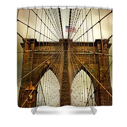 Brooklyn Bridge Twilight Shower Curtain by Jessica Jenney